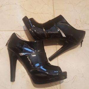 Black Patent peep toe booties